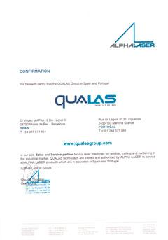 Certificado de partner con Alpha Laser